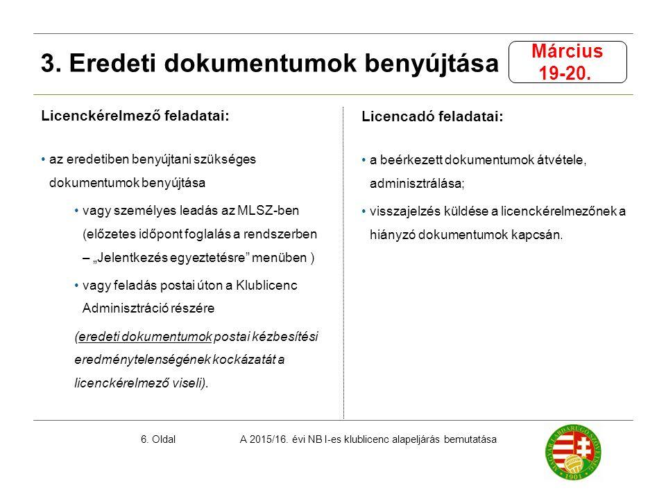 A 2015/16. évi NB I-es klublicenc alapeljárás bemutatása6. Oldal Licenckérelmező feladatai: az eredetiben benyújtani szükséges dokumentumok benyújtása