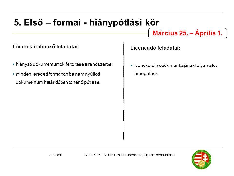 A 2015/16. évi NB I-es klublicenc alapeljárás bemutatása8. Oldal Licenckérelmező feladatai: hiányzó dokumentumok feltöltése a rendszerbe; minden, ered