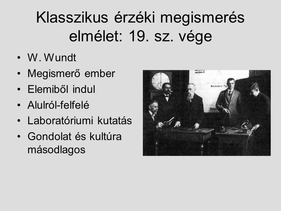 Klasszikus érzéki megismerés elmélet: 19. sz. vége W. Wundt Megismerő ember Elemiből indul Alulról-felfelé Laboratóriumi kutatás Gondolat és kultúra m