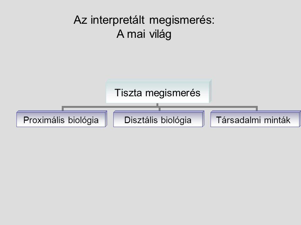 Az interpretált megismerés: A mai világ Tiszta megismerés Proximális biológia Disztális biológia Társadalmi minták