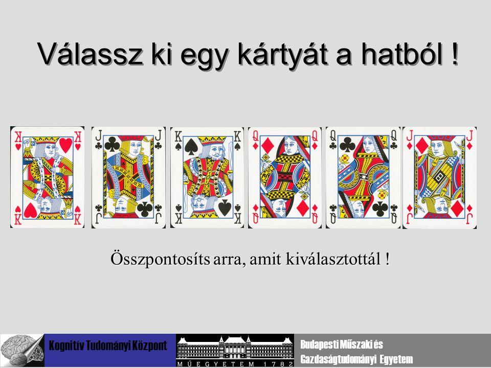 Kognitív Tudományi Központ Budapesti Műszaki és Gazdaságtudományi Egyetem Válassz ki egy kártyát a hatból ! Összpontosíts arra, amit kiválasztottál !