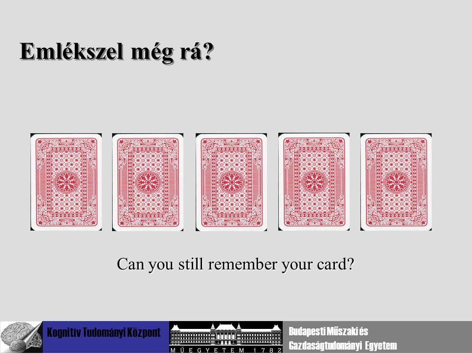 Kognitív Tudományi Központ Budapesti Műszaki és Gazdaságtudományi Egyetem Emlékszel még rá? Can you still remember your card?