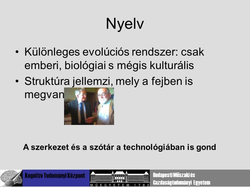 Kognitív Tudományi Központ Budapesti Műszaki és Gazdaságtudományi Egyetem Nyelv Különleges evolúciós rendszer: csak emberi, biológiai s mégis kulturális Struktúra jellemzi, mely a fejben is megvan A szerkezet és a szótár a technológiában is gond