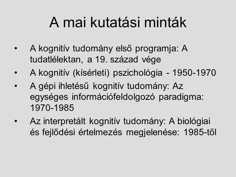 A mai kutatási minták A kognitív tudomány első programja: A tudatlélektan, a 19. század vége A kognitív (kísérleti) pszichológia - 1950-1970 A gépi ih