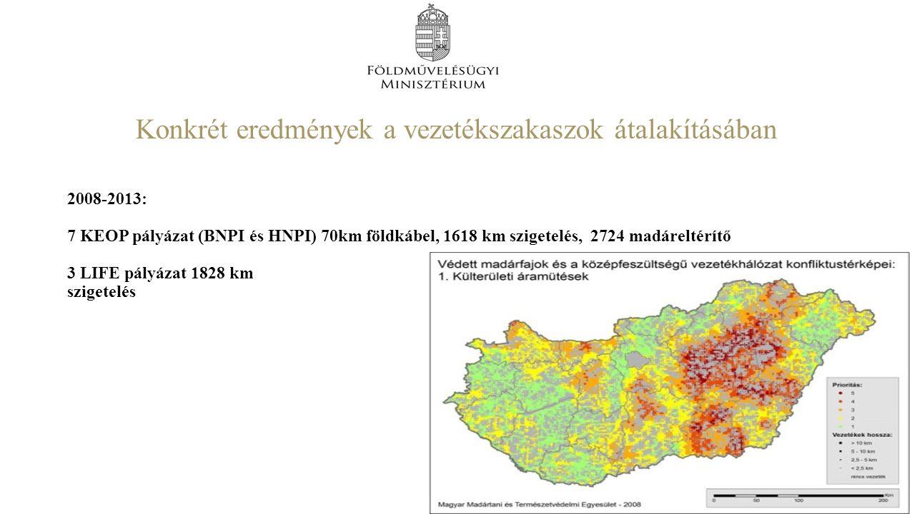 Konkrét eredmények a vezetékszakaszok átalakításában 2008-2013: 7 KEOP pályázat (BNPI és HNPI) 70km földkábel, 1618 km szigetelés, 2724 madáreltérítő 3 LIFE pályázat 1828 km szigetelés