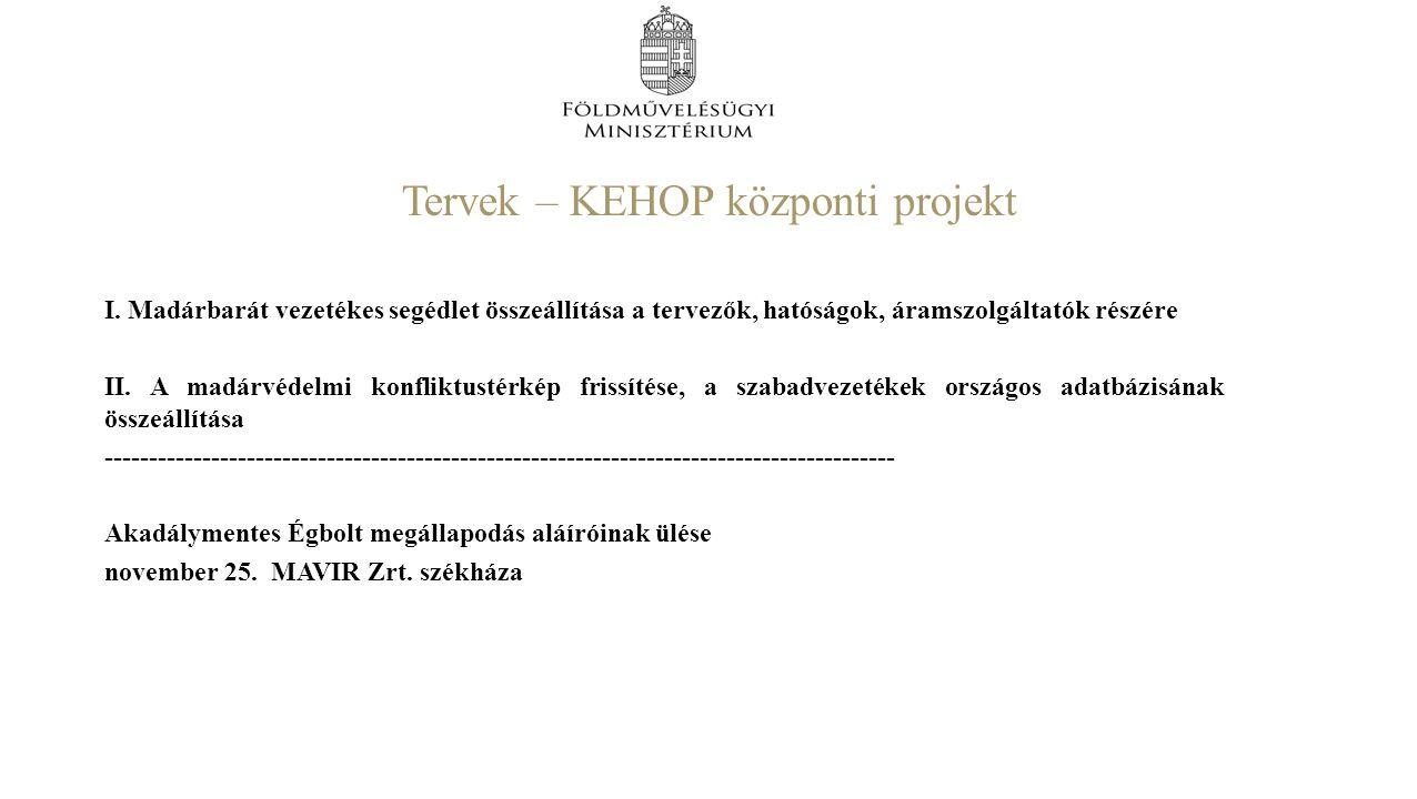 Tervek – KEHOP központi projekt I.