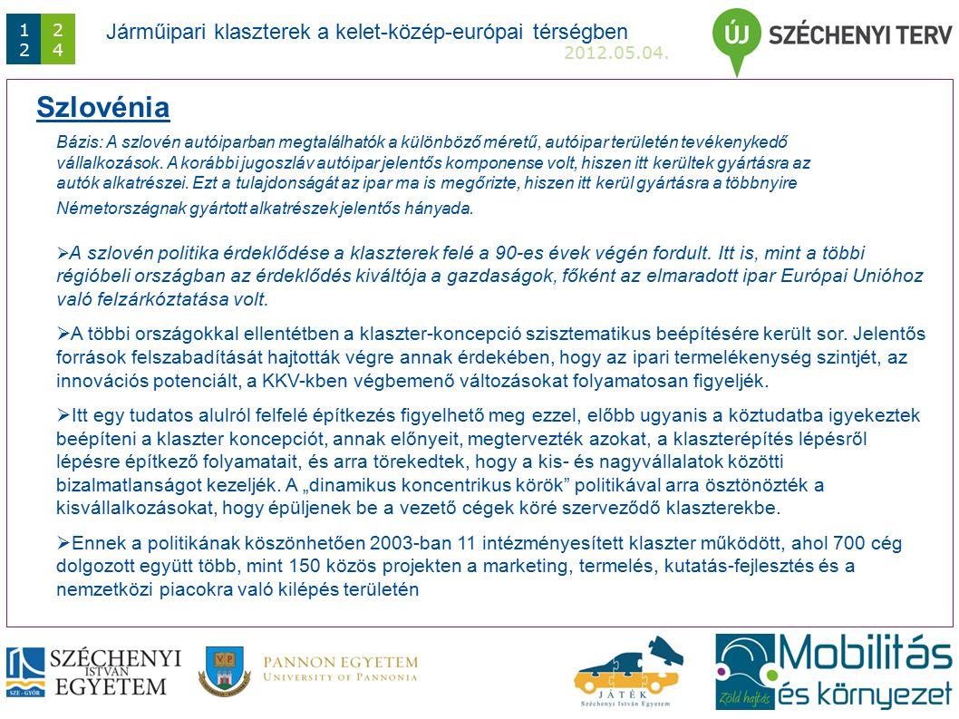 Járműipari klaszterek a kelet-közép-európai térségben 2012.05.04.