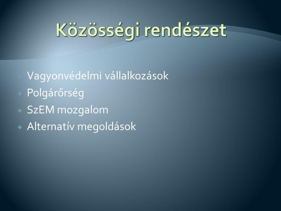  Vagyonvédelmi vállalkozások  Polgárőrség  SzEM mozgalom  Alternatív megoldások