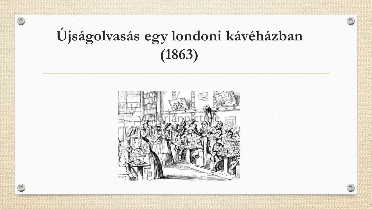 Újságolvasás egy londoni kávéházban (1863)