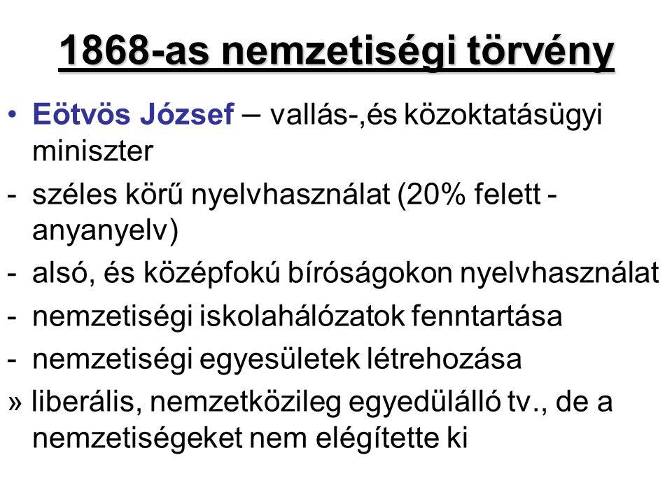 1868-as nemzetiségi törvény Eötvös József – vallás-,és közoktatásügyi miniszter -széles körű nyelvhasználat (20% felett - anyanyelv) -alsó, és középfo