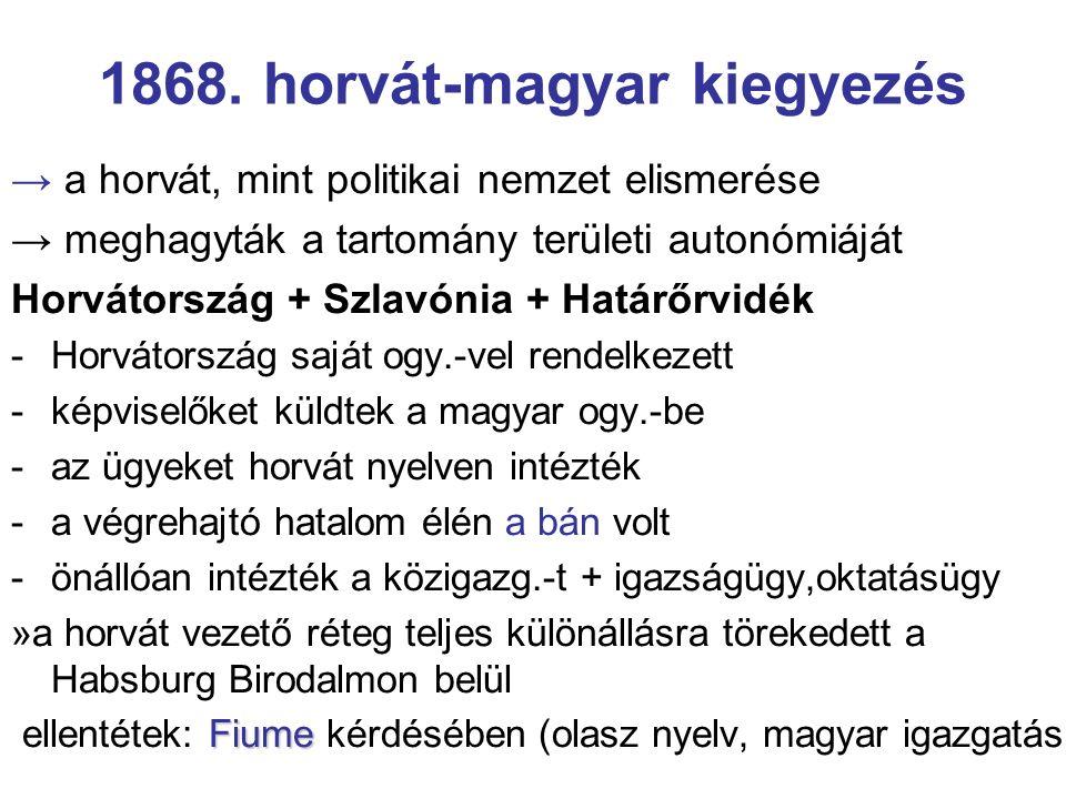 1868. horvát-magyar kiegyezés → a horvát, mint politikai nemzet elismerése → meghagyták a tartomány területi autonómiáját Horvátország + Szlavónia + H