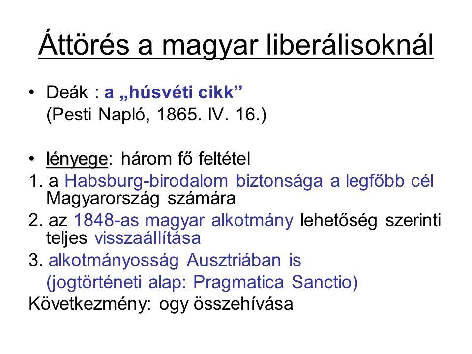 """Áttörés a magyar liberálisoknál Deák : a """"húsvéti cikk"""" (Pesti Napló, 1865. IV. 16.) lényegelényege: három fő feltétel 1. a Habsburg-birodalom biztons"""
