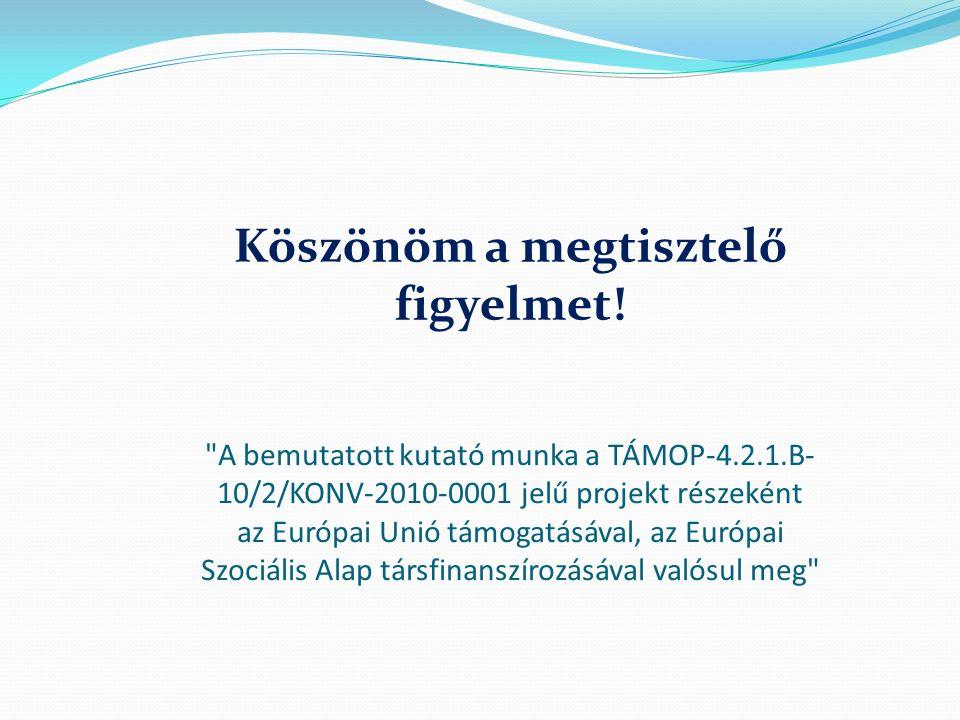 A bemutatott kutató munka a TÁMOP-4.2.1.B- 10/2/KONV-2010-0001 jelű projekt részeként az Európai Unió támogatásával, az Európai Szociális Alap társfinanszírozásával valósul meg Köszönöm a megtisztelő figyelmet!