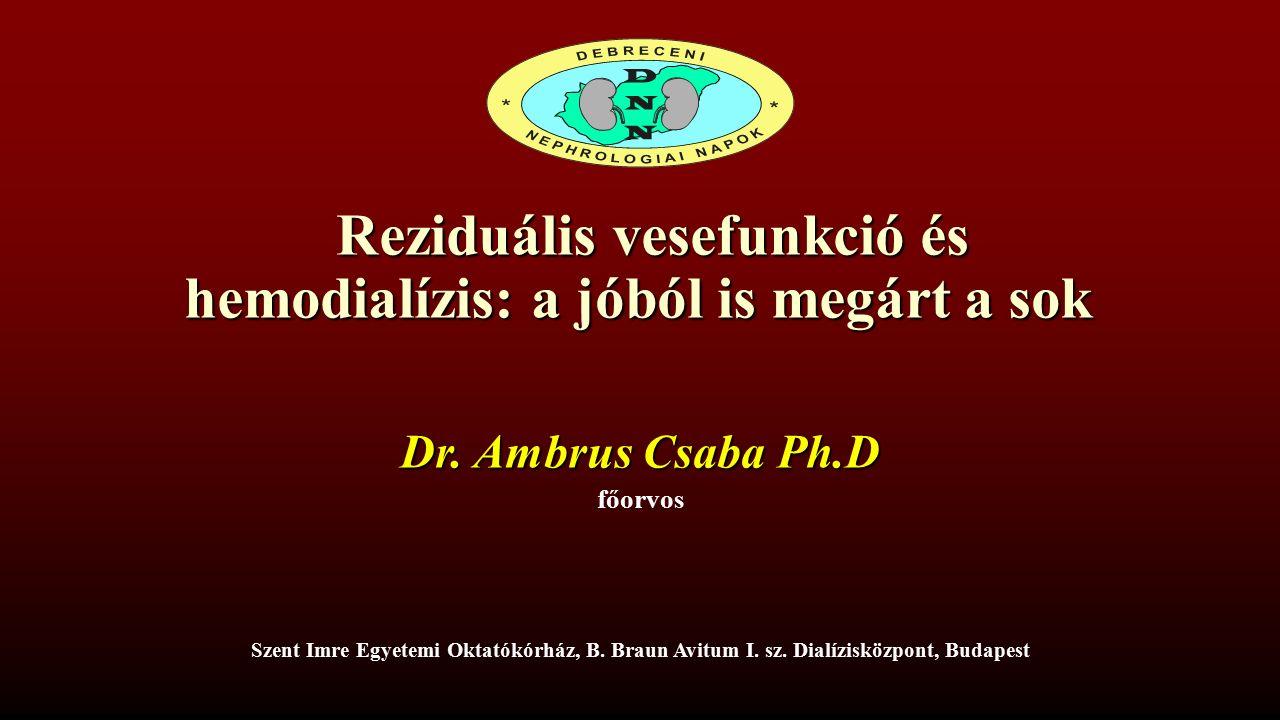 Reziduális vesefunkció Sóbevitel Diabetes Dialízis vízminőség, dializátor biokompatibilitása Ultrafiltráció Kontrasztanyag és más nephrotoxinok Hidráció Kalcium-foszfát metabolizmus Obezitás ACE gátló / ARB Veseelégtelenség oka Krónikus gyulladás és oxidatív stressz A reziduális vesefunkciót befolyásoló tényezők NDT Plus (2011) 4: 225–230