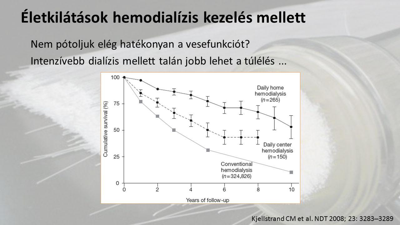 Nagyobb mortalitás heti 2 HD esetén Talán nem elegendő > 100ml/d diuresis .