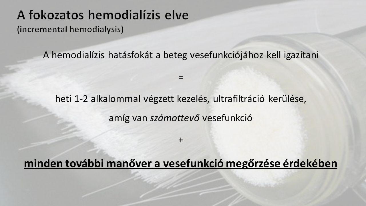 A hemodialízis hatásfokát a beteg vesefunkciójához kell igazítani = heti 1-2 alkalommal végzett kezelés, ultrafiltráció kerülése, amíg van számottevő