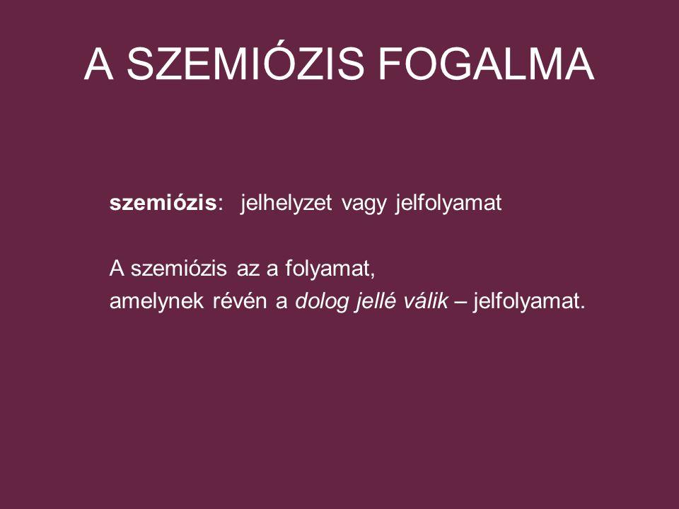 A SZEMIÓZIS FOGALMA szemiózis: jelhelyzet vagy jelfolyamat A szemiózis az a folyamat, amelynek révén a dolog jellé válik – jelfolyamat.