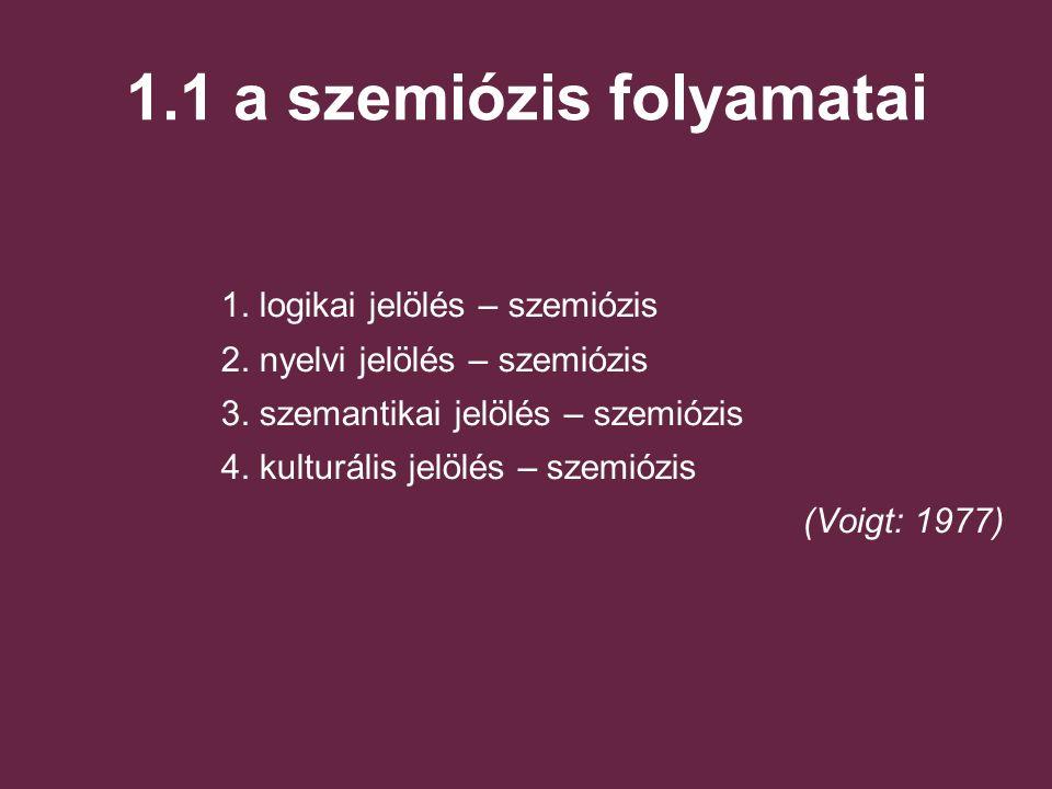 1.1 a szemiózis folyamatai 1.logikai jelölés – szemiózis 2.