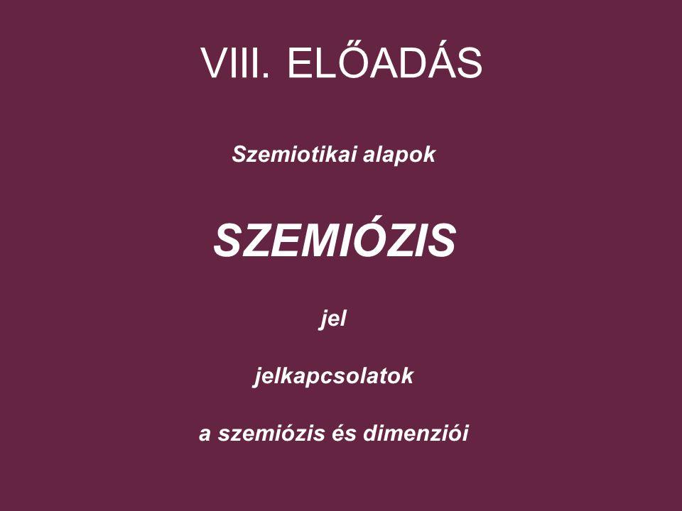 VIII. ELŐADÁS Szemiotikai alapok SZEMIÓZIS jel jelkapcsolatok a szemiózis és dimenziói