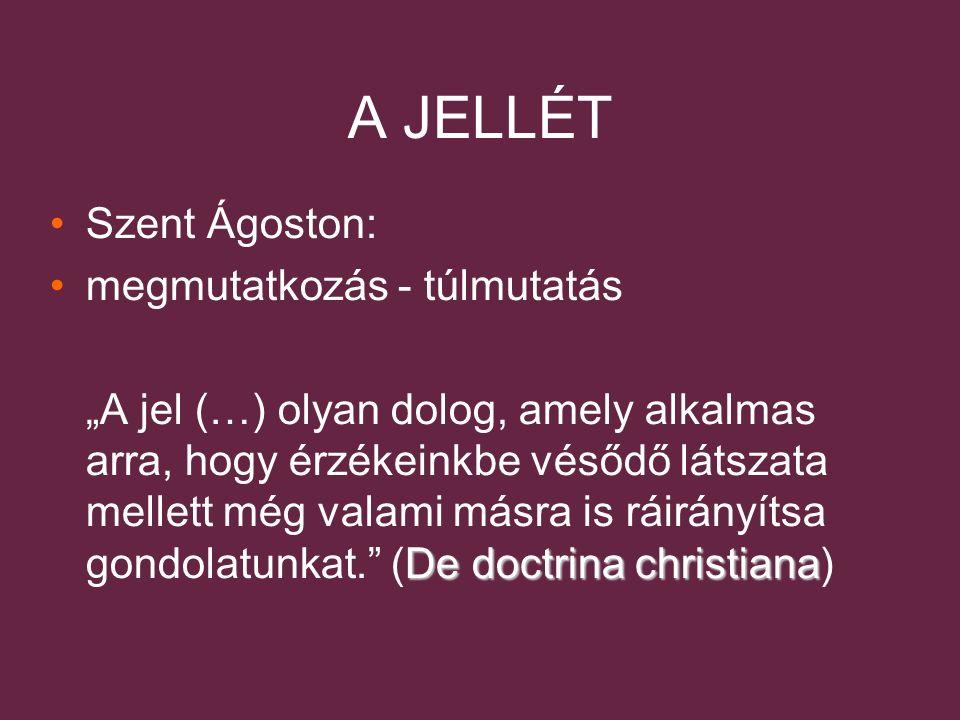 """A JELLÉT Szent Ágoston: megmutatkozás - túlmutatás De doctrina christiana """"A jel (…) olyan dolog, amely alkalmas arra, hogy érzékeinkbe vésődő látszata mellett még valami másra is ráirányítsa gondolatunkat. (De doctrina christiana)"""