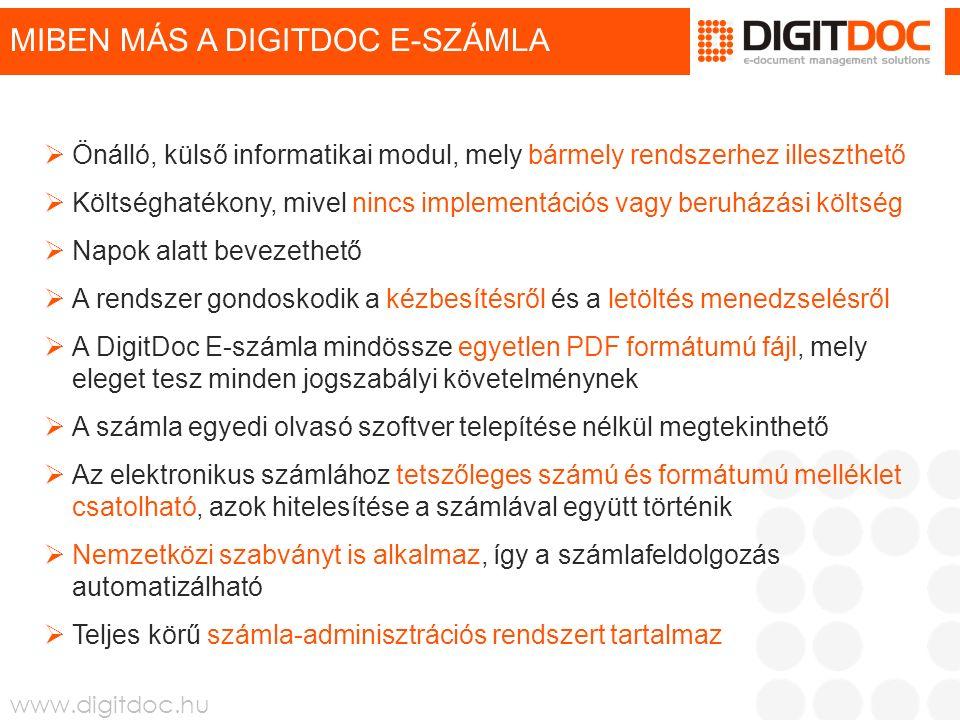 www.digitdoc.hu MIBEN MÁS A DIGITDOC E-SZÁMLA  Önálló, külső informatikai modul, mely bármely rendszerhez illeszthető  Költséghatékony, mivel nincs