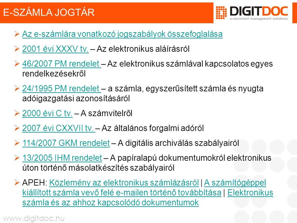 www.digitdoc.hu E-SZÁMLA JOGTÁR  Az e-számlára vonatkozó jogszabályok összefoglalása Az e-számlára vonatkozó jogszabályok összefoglalása  2001 évi X