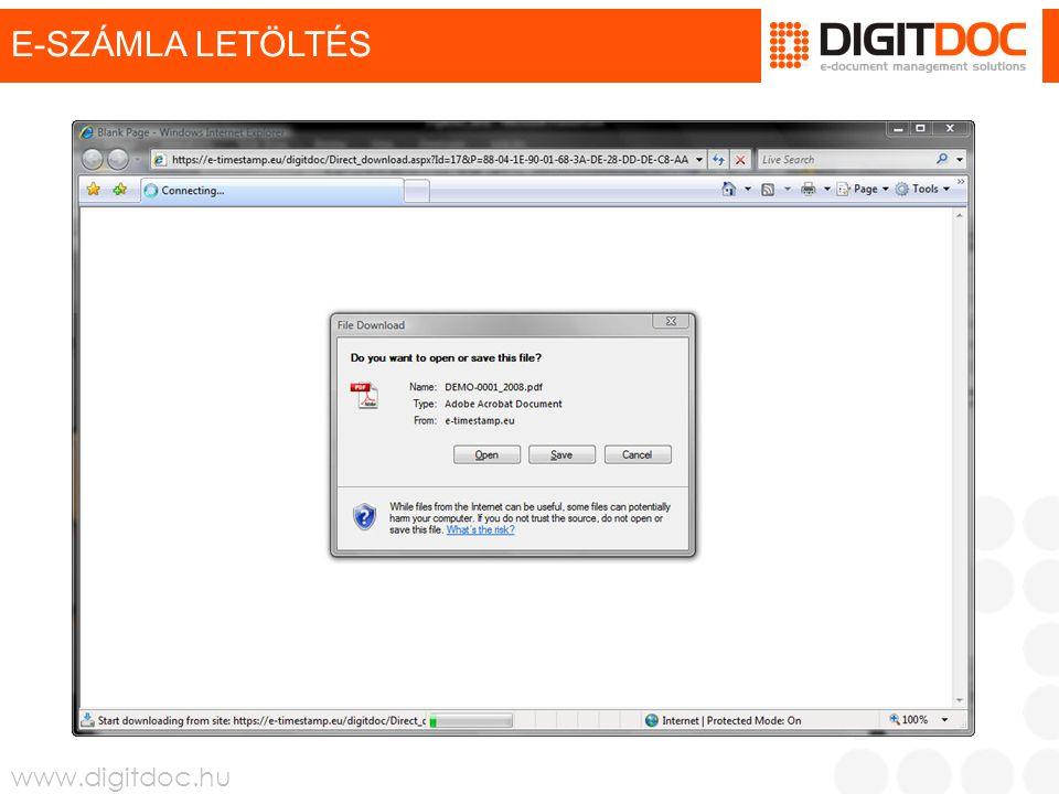 www.digitdoc.hu E-SZÁMLA LETÖLTÉS
