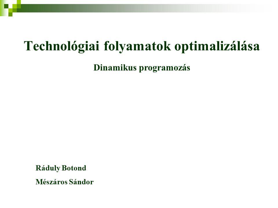 Dinamikus programozás A dinamikus programozás a feladatot egyszerű részfeladatokra való osztással oldja meg.