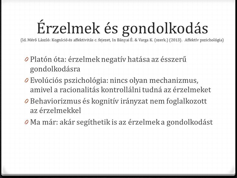 Érzelmek és gondolkodás (ld. Mérő László: Kogníció és affektivitás c.