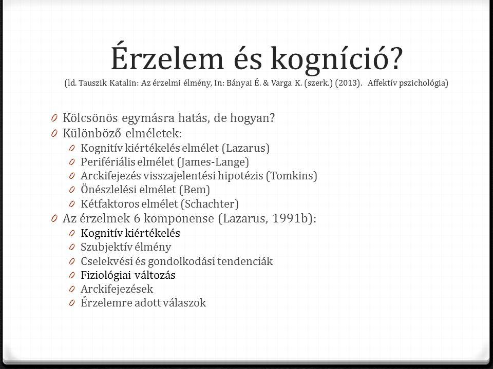 Érzelem és kogníció. (ld. Tauszik Katalin: Az érzelmi élmény, In: Bányai É.