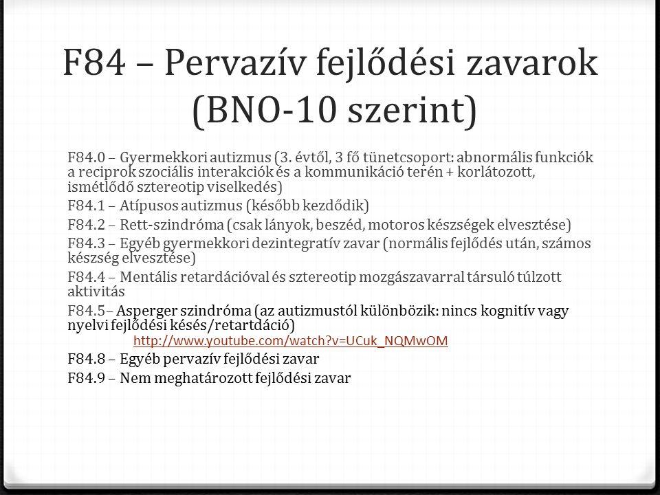 F84 – Pervazív fejlődési zavarok (BNO-10 szerint) F84.0 – Gyermekkori autizmus (3.