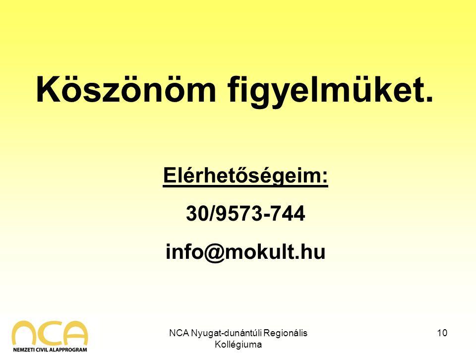 NCA Nyugat-dunántúli Regionális Kollégiuma 10 Köszönöm figyelmüket. Elérhetőségeim: 30/9573-744 info@mokult.hu