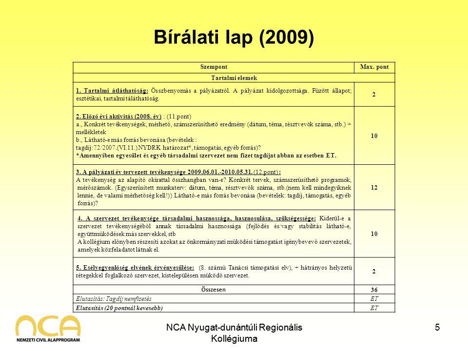 NCA Nyugat-dunántúli Regionális Kollégiuma Bírálati lap (2009) NCA Nyugat-dunántúli Regionális Kollégiuma 5 SzempontMax. pont Tartalmi elemek 1. Tarta