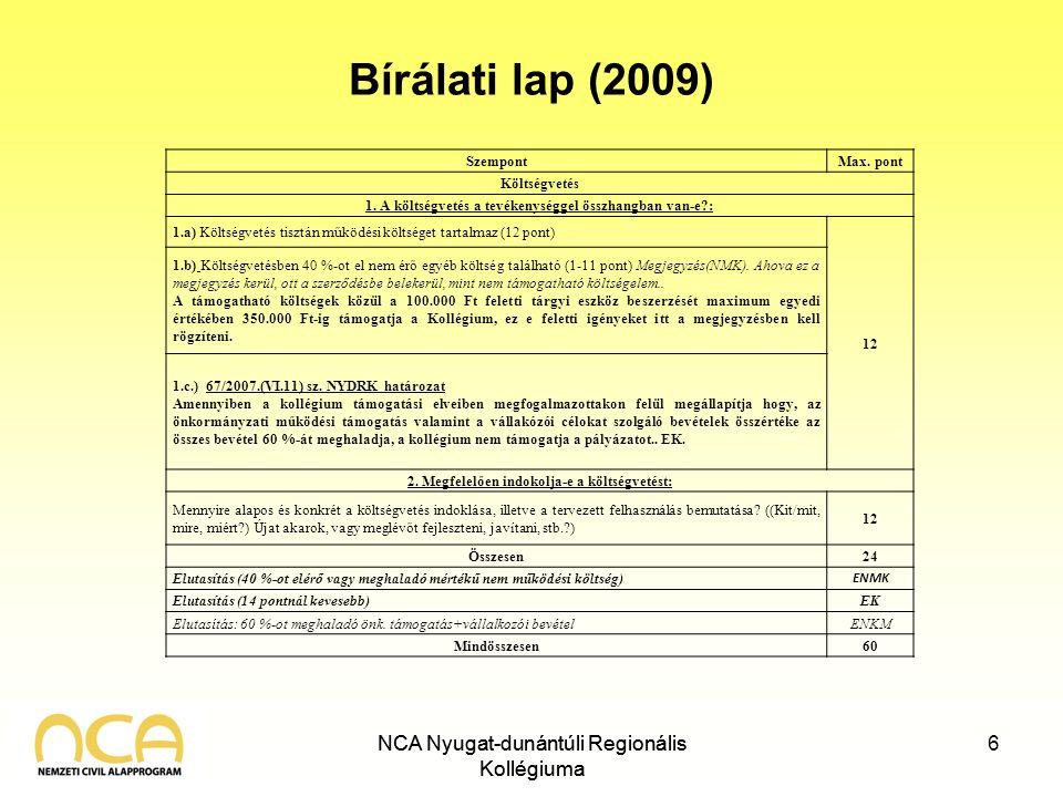 NCA Nyugat-dunántúli Regionális Kollégiuma Bírálati lap (2009) NCA Nyugat-dunántúli Regionális Kollégiuma 6 SzempontMax. pont Költségvetés 1. A költsé