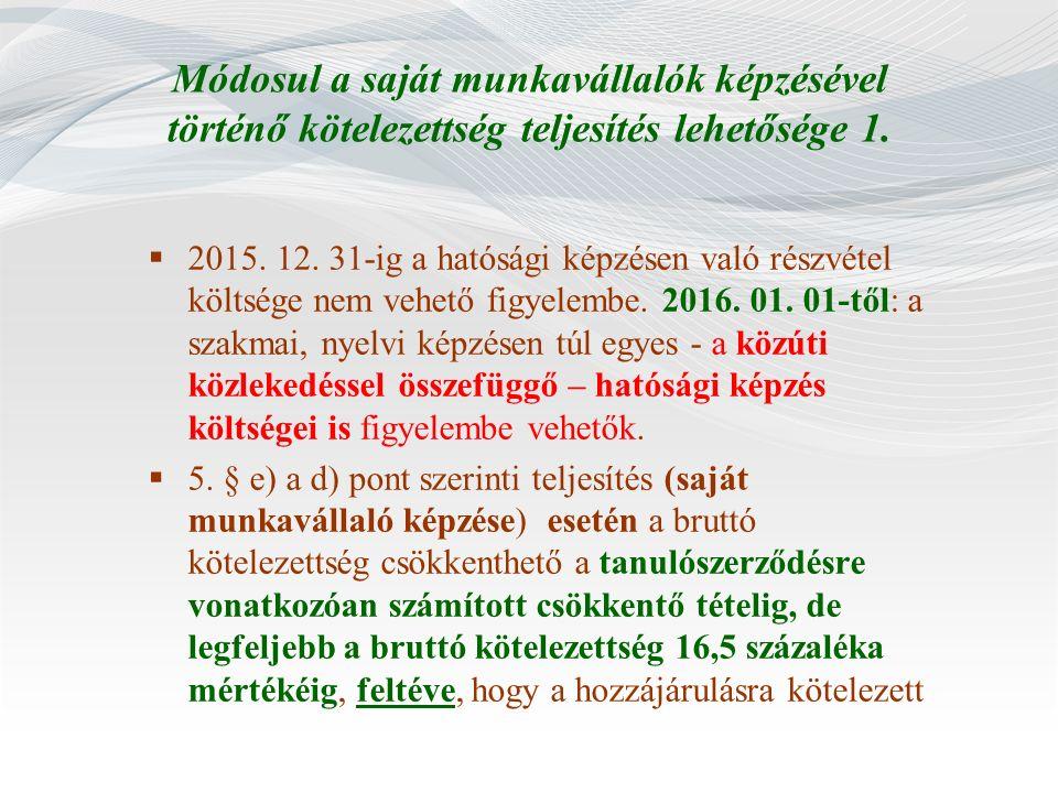 Módosul a saját munkavállalók képzésével történő kötelezettség teljesítés lehetősége 1.  2015. 12. 31-ig a hatósági képzésen való részvétel költsége