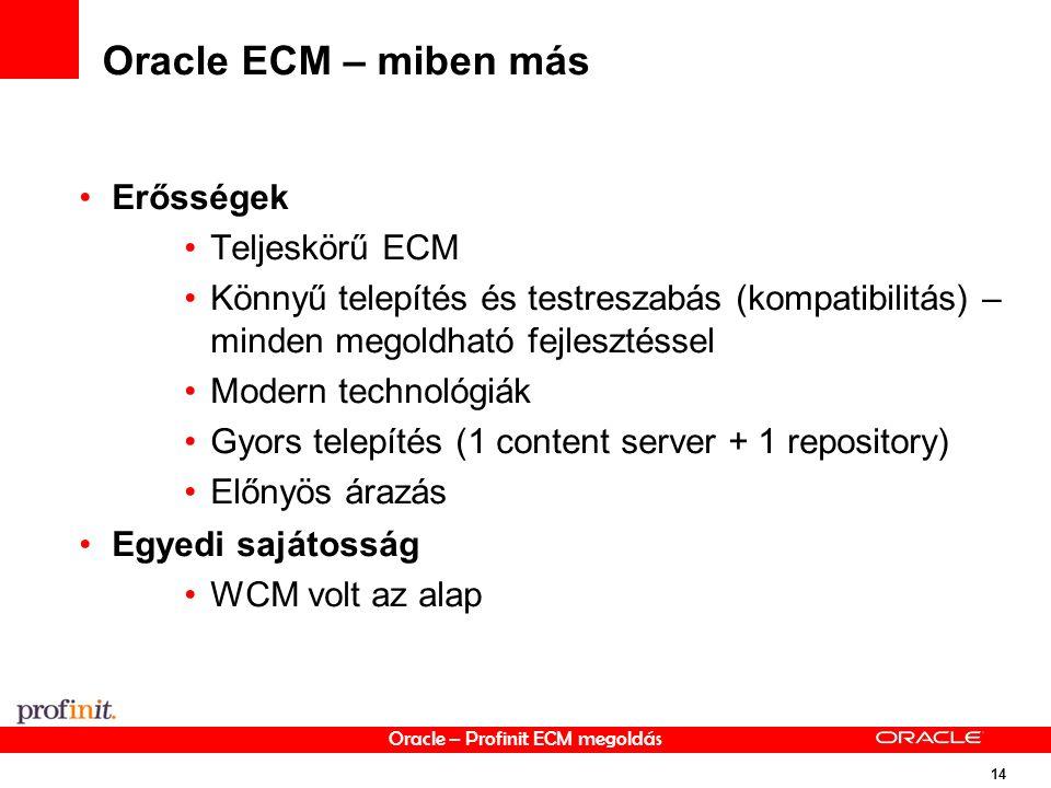 Oracle – Profinit ECM megoldás 14 Oracle ECM – miben más Erősségek Teljeskörű ECM Könnyű telepítés és testreszabás (kompatibilitás) – minden megoldható fejlesztéssel Modern technológiák Gyors telepítés (1 content server + 1 repository) Előnyös árazás Egyedi sajátosság WCM volt az alap
