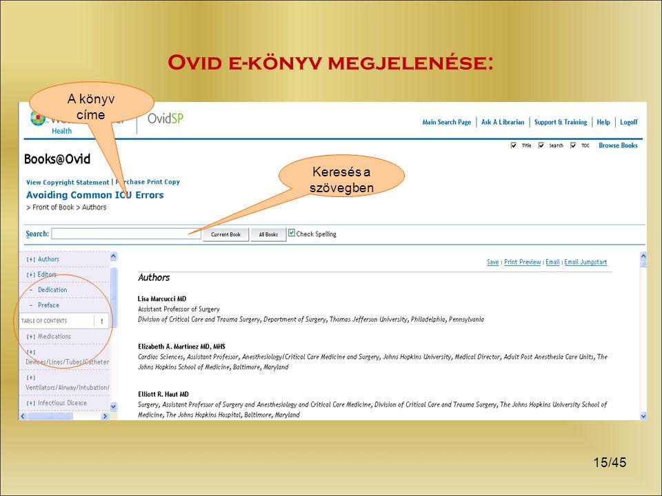 15/45 Ovid e-könyv megjelenése: A könyv címe Keresés a szövegben