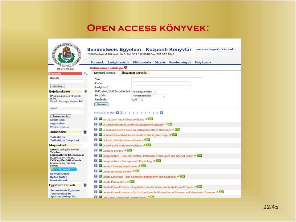 22/45 Open access könyvek: