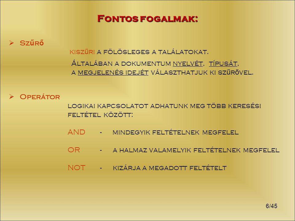 17/45 Tárgymutató: