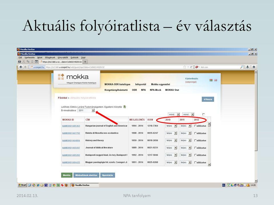Aktuális folyóiratlista – év választás 2014.02.13.NPA tanfolyam13