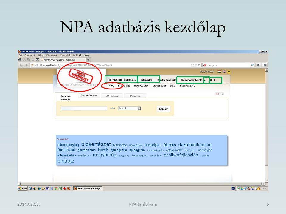 NPA adatbázis kezdőlap 2014.02.13.NPA tanfolyam5