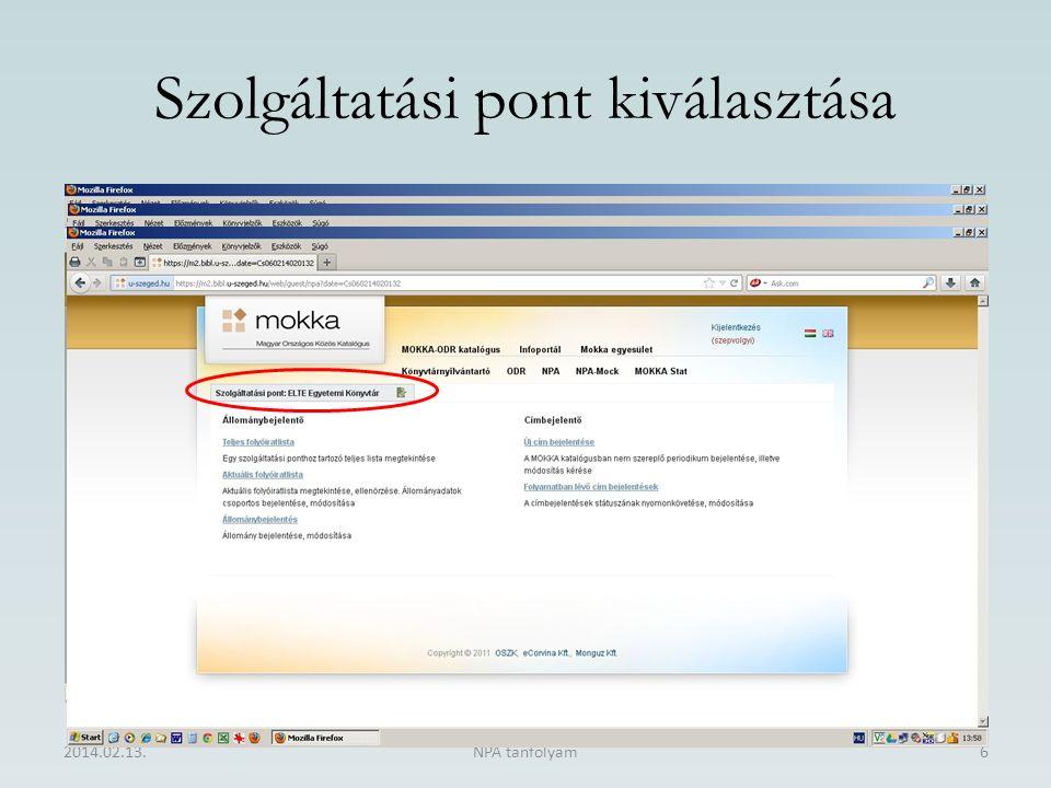 Szolgáltatási pont kiválasztása 2014.02.13.NPA tanfolyam6