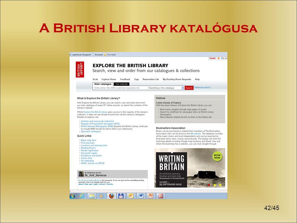 A British Library katalógusa 42/45