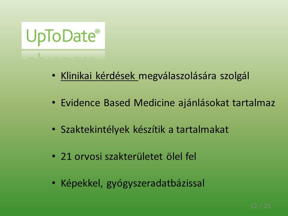 12 / 25 Klinikai kérdések megválaszolására szolgál Evidence Based Medicine ajánlásokat tartalmaz Szaktekintélyek készítik a tartalmakat 21 orvosi szak