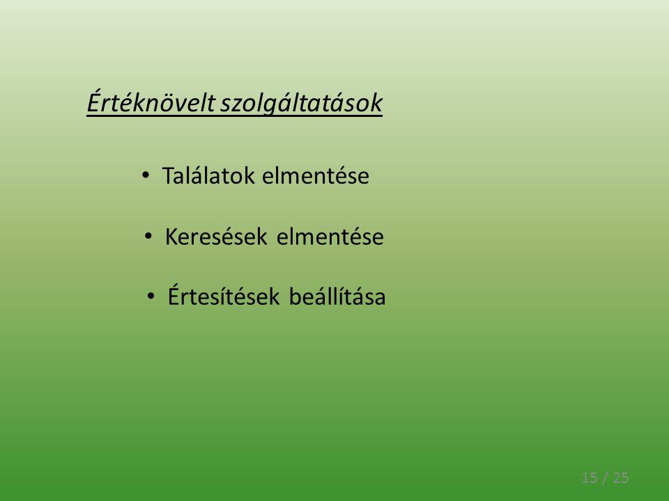 15 / 25 Értéknövelt szolgáltatások Találatok elmentése Keresések elmentése Értesítések beállítása