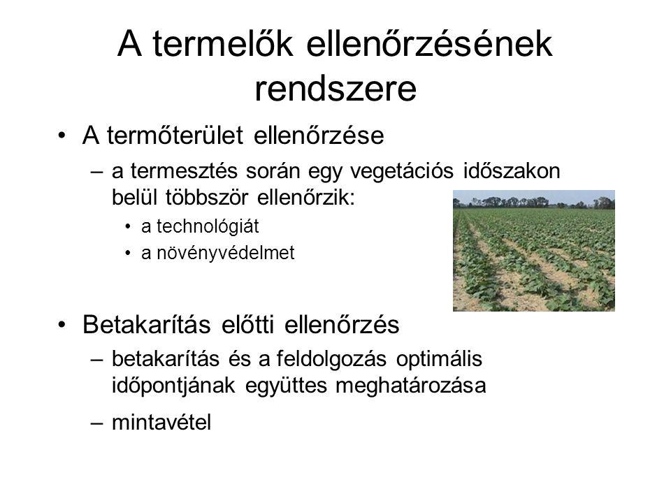 A termelők ellenőrzésének rendszere A termőterület ellenőrzése –a termesztés során egy vegetációs időszakon belül többször ellenőrzik: a technológiát a növényvédelmet Betakarítás előtti ellenőrzés –betakarítás és a feldolgozás optimális időpontjának együttes meghatározása –mintavétel