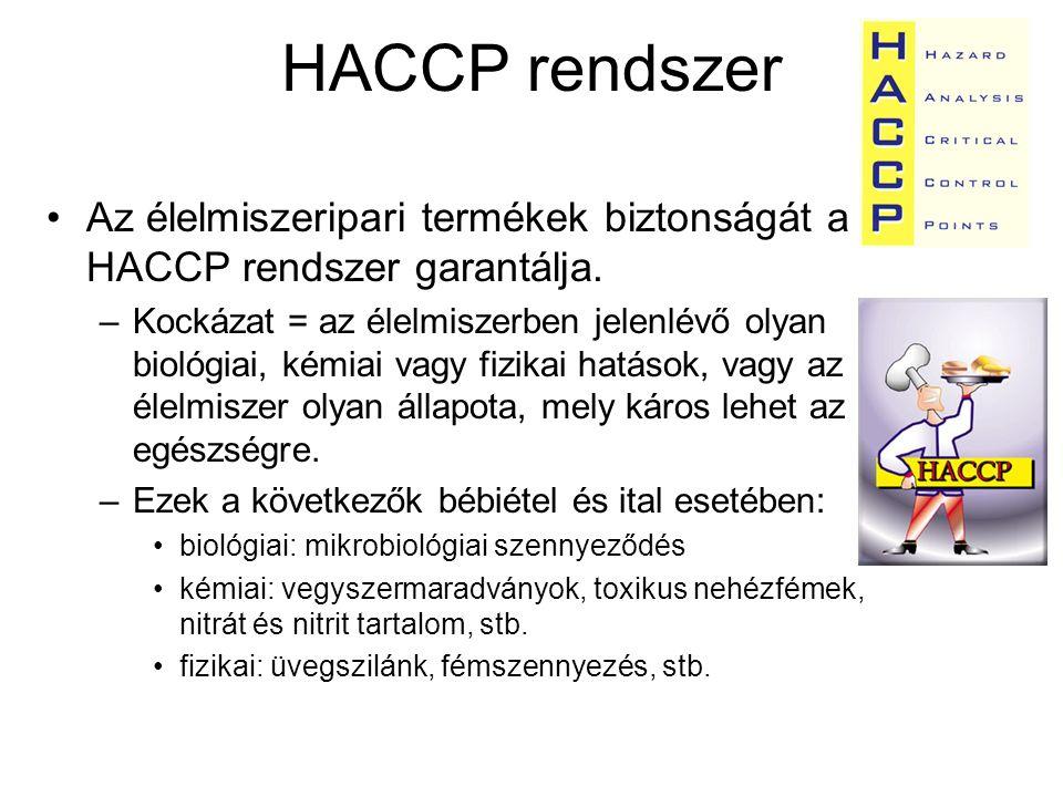 HACCP rendszer Az élelmiszeripari termékek biztonságát a HACCP rendszer garantálja.