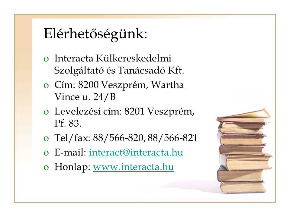 Elérhetőségünk: oInteracta Külkereskedelmi Szolgáltató és Tanácsadó Kft. oCím: 8200 Veszprém, Wartha Vince u. 24/B oLevelezési cím: 8201 Veszprém, Pf.