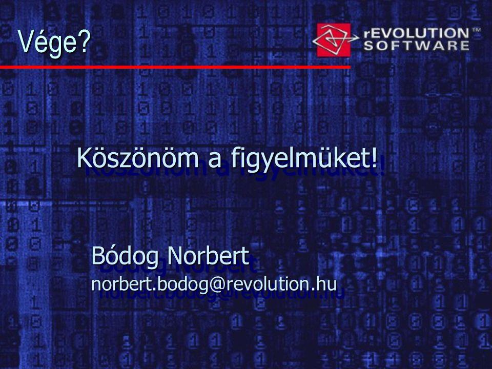 Vége Bódog Norbert norbert.bodog@revolution.hu norbert.bodog@revolution.hu Köszönöm a figyelmüket!