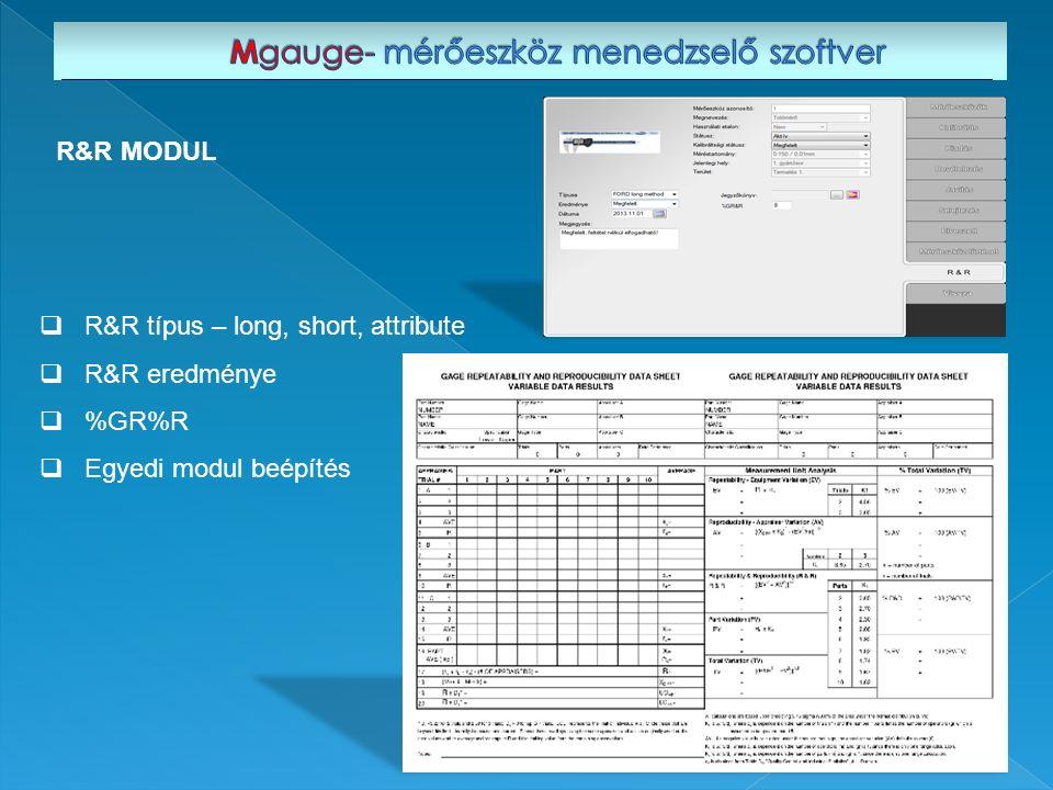  R&R típus – long, short, attribute  R&R eredménye  %GR%R  Egyedi modul beépítés R&R MODUL